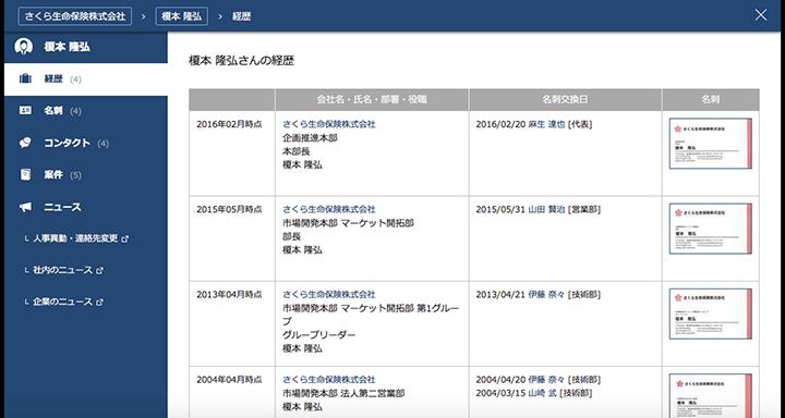 図4:担当者の過去の経歴が一覧で表示され、部署異動などがあった際は自動で更新される