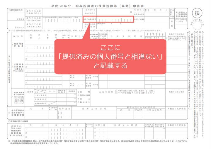 図3:「あなたの個人番号」欄や用紙の余白に「提供済みの個人番号と相違ない」と記載すれば、マイナンバーの記載は不要になる。記載する代わりにハンコを作って押したものでもよい