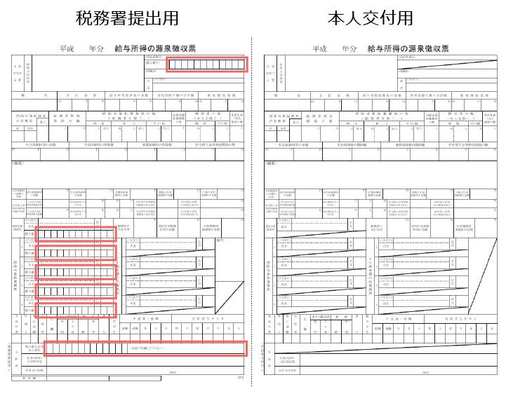 図4:左が税務署提出用、右が本人公布用。サイズはA6からA5に変更される
