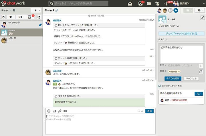 図4:ChatWorkのブラウザ版画面。真ん中にメッセージやり取りする場があり、右側にタスク管理などの機能がある