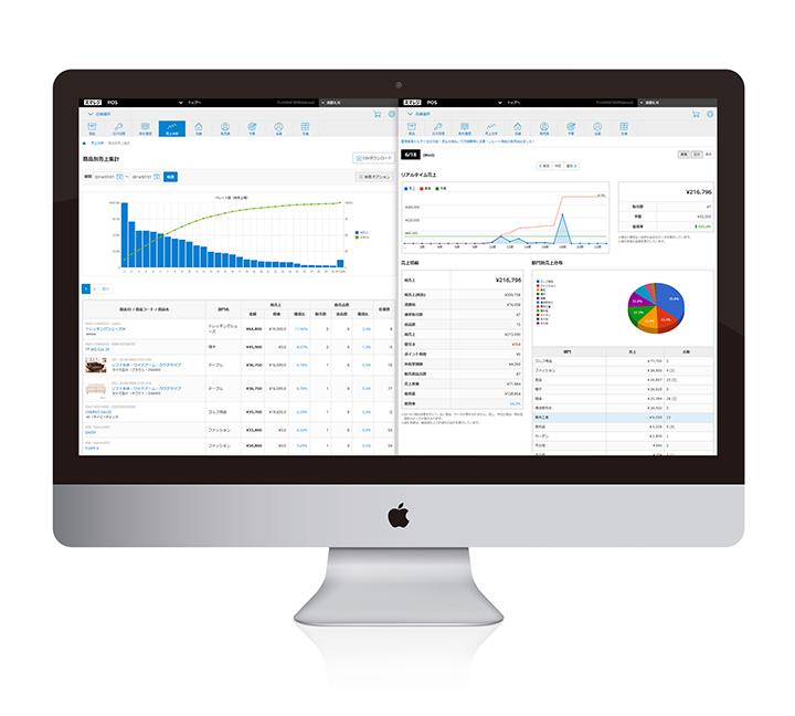 iPad上でもPCからでも、リアルタイムに売上の状況を把握できる。グラフを使って表示されるので分析・検討もわかりやすい