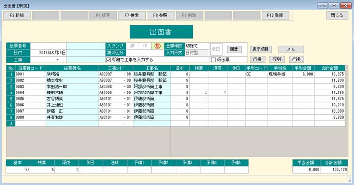 出面の画面。入力したデータは工事別・従業員別で多様な集計管理もできる。自社重機の使用実績にも応用可能