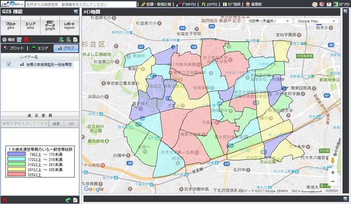 政府統計ポータルサイト「e-Stat」のGIS機能を使えば、指定した属性による世帯数分布を区域別に色分け表示できる