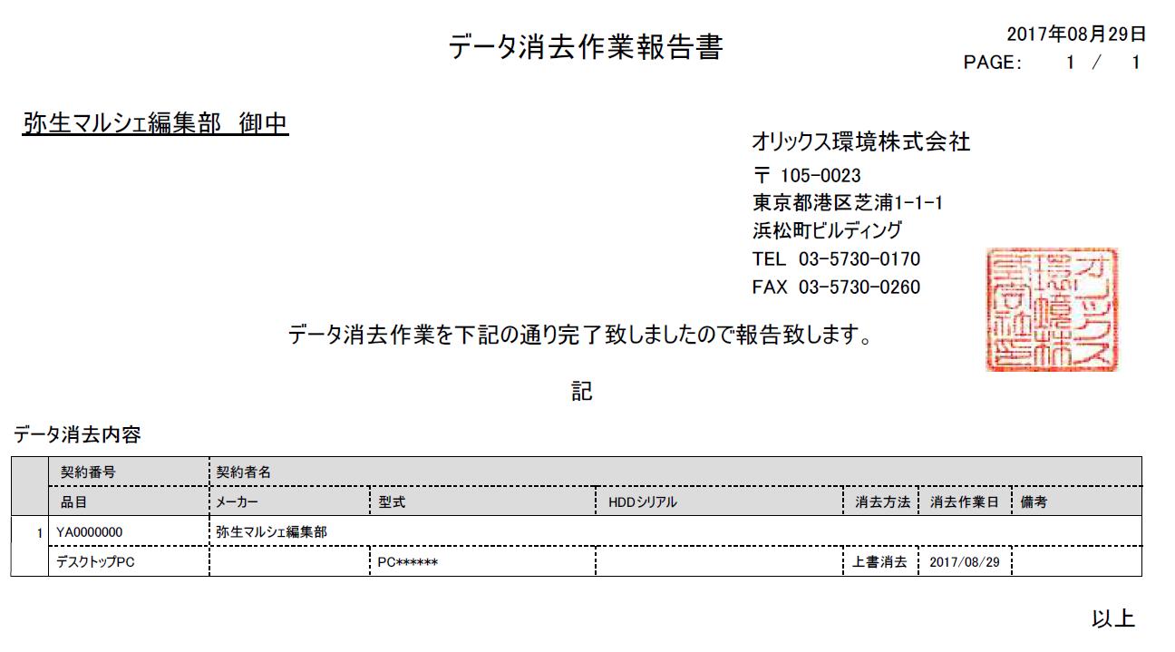 作業報告書サンプル