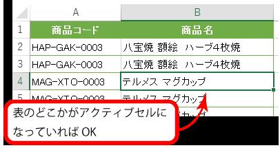 1.表内のどこかのセルをクリックして選択。