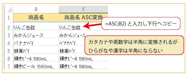 下の図はASC関数で商品名を半角にしたものです