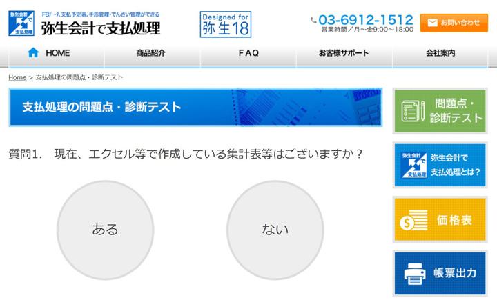 本製品のウェブサイトにある「問題点・診断テスト」では、ABCの3つのパターンで現状を判断してくれる