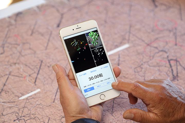 ぶどうの粒をカウントするスマートフォンアプリ。これがあれば何度も数える必要がなくるうえ、摘粒の精度が上がる
