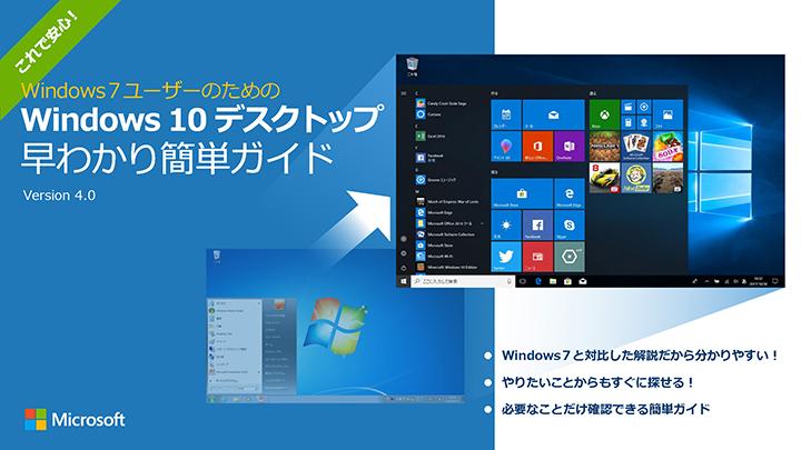 マイクロソフトは、Windows 7からWindows 10へ切り替えたときの操作ガイドを公開している 参考:移行前の準備が大切! 最新 OS への移行準備をしましょう! - Microsoft atLife